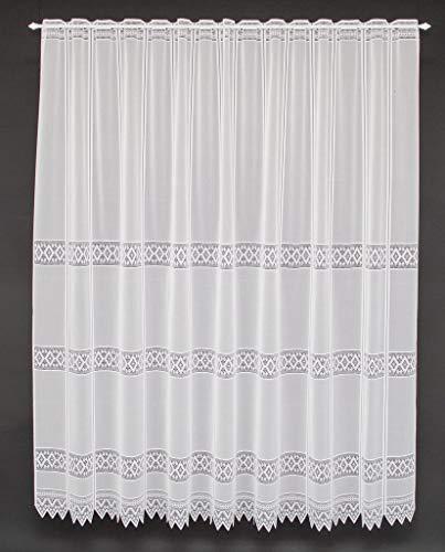 Cortina de media altura jacquard gráficamente altura 180 cm | Ancho de la cortina seleccionable por la cantidad comprada en pasos de 13 cm | Color: blanco | Cortinas cocina