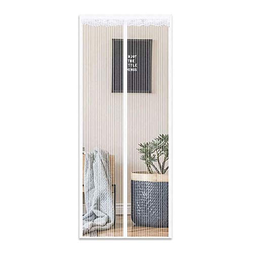 DTKJ Magnetic Screen Door Curtain, Anti Mosquito Magnetic Soft Door, Magnetic adsorption Foldable, Easy to Open and Close,White,100×200cm