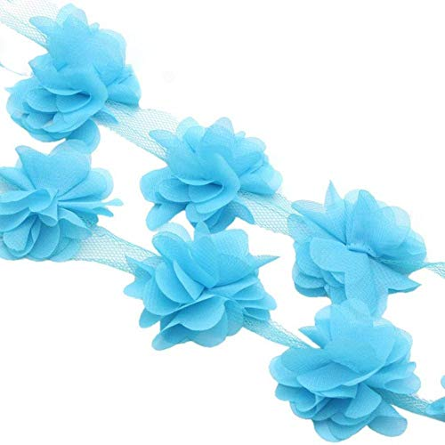 Lucia knutselen Ca. 5,5 cm 3D Chiffon Bloemen Kant Trim Naaibenodigdheden Jurk Decoratie Kant Stof Applique V0401, blauw 1j