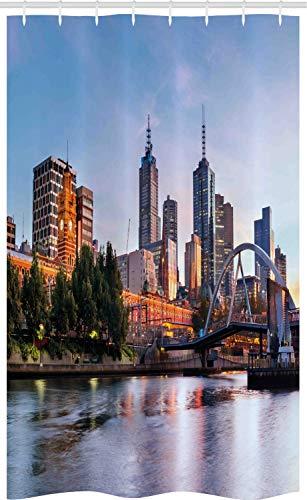 ABAKUHAUS stad Douchegordijn, Morning Australië River, voor Douchecabine Stoffen Badkamer Decoratie Set met Ophangringen, 120 x 180 cm, Oranje Groen Pale Blue