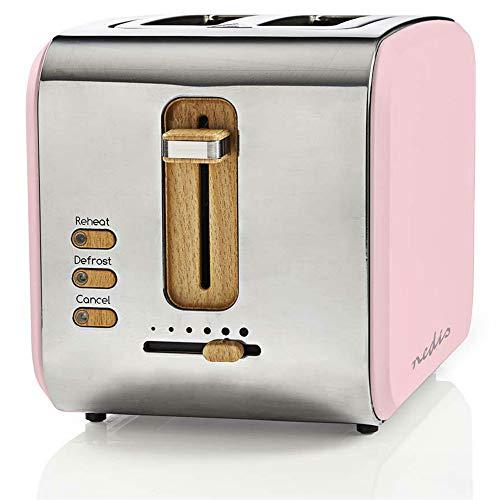 TronicXL ECO Toaster Holz Design Applikationen + rosa Soft-Touch + Edelstahl silber - 6-Stufen - 900W - Designer Retro Holzdesign