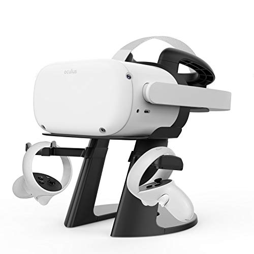 Delamu VR Stand, Compatible with Oculus Quest 2 Stand, VR Headset Stand for Oculus Quest/Quest 2/Rift S/HTC Vive/Valve Index, VR Holder, Virtual Reality Headset and Controllers Holder, Black
