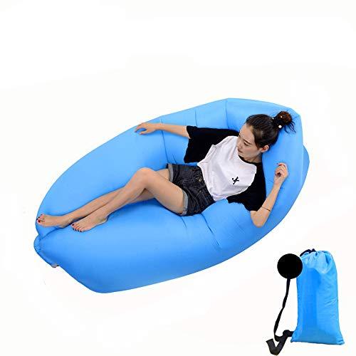 DWHJ Aufblasbare Lehnstuhl, bewegliche aufblasbare Sofa Mittagspause Rollbetten Stuhl, geeignet für Indoor Pool im Innenhof Grass Boden,Sky Blue