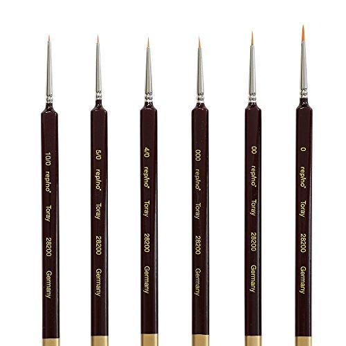 REPINO 28200Fine detalle cepillo de pintura, Set de 6con Triangular mango–perfecto para modelo kit, miniaturas, uñas, pintura acrílica, acuarela
