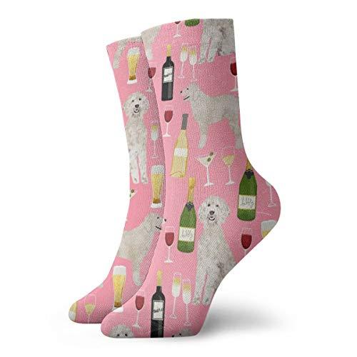 Calcetines de algodón para hombre, diseño de garabatos de vino, cerveza, color rosa