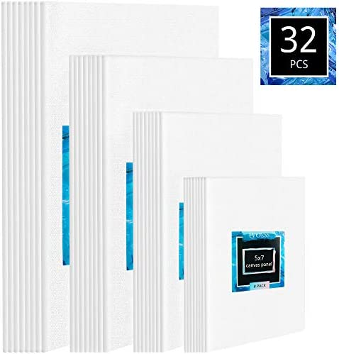 Lvoess Paint Canvas Board Set Multi Pack 5x7 8x10 9x12 11x14 Set of 32 100 White Cotton Canvas product image