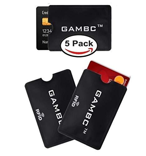 [5 Pz] Custodie blocco RFID protection - ANTI FRODE - GAMBC® - 2a Gen.+ SOTTILE - Protezione Rfid - Proteggi carte di credito contactless bancomat Custodie Blocco RFID/NFC Alluminio + Plastica Morbida