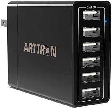 USB Wall Charger Arttron 6 Port 40W USB Charging Station Universal Travel Adapter for iPhone product image