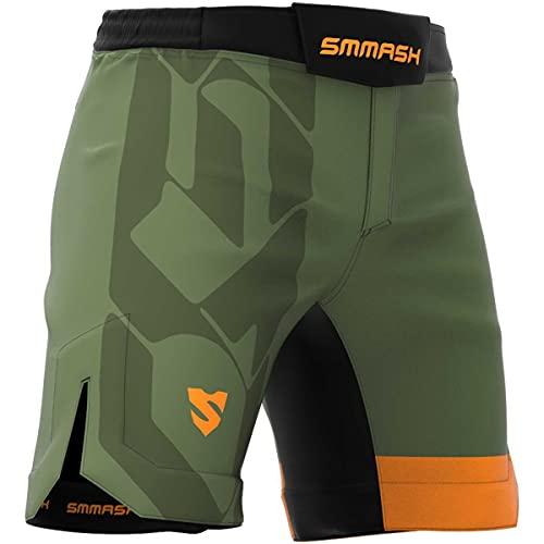 SMMASH Cross20 Deporte Profesionalmente Ultraligero Pantalones Cortos MMA para Hombre, Shorts MMA, BJJ, Grappling, Krav Maga, Material Transpirable y Antibacteriano, (L)