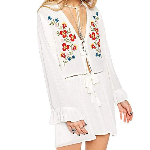 BYBAY Badeanzug mit Stickerei aus Baumwolle und Strandmotiv Damen Bikini-Tunika für Beach Sarong Beachwear, Weiß
