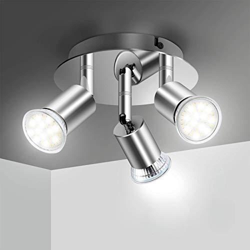 Elfeland LED Deckenleuchte mit 3x GU10 Schwenkbaren Fassungen Deckenstrahler Deckenlampe Ceiling Light LED Strahler Deckenspot Küchenlampe Innenleuchte Wohnzimmerleuchte Spotleuchte ohne lichtquelle