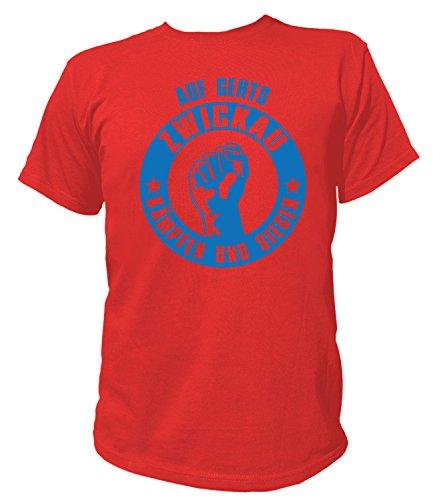 Artdiktat Herren T-Shirt - Auf gehts Zwickau - Kämpfen und Siegen Größe L, rot