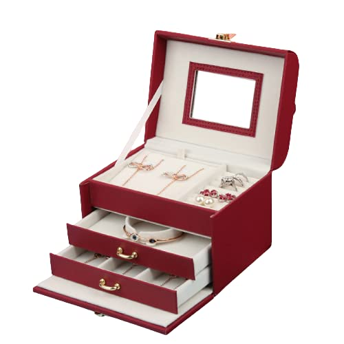 YXD Caja de Joyería, Organizador de Joyas, Pequeña Piel Sintética, para Chicas, Mujeres, Mamá, Hija, Blanco, Rojo, con Espejo,Red