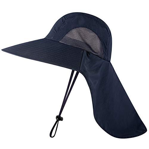 Casquette de pêche Unisexe à Large Bord Chapeau de Soleil avec Rabat de Cou pour Voyage Camping randonnée Bateau pêche, Bleu foncé