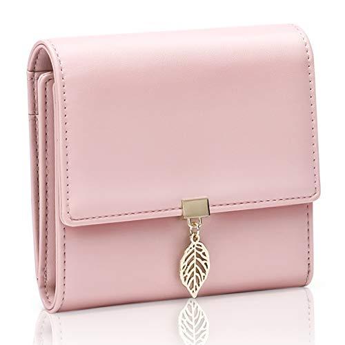 WACCET Portafoglio Donna Piccolo, Portafogli Donna RFID con 5 Scomparti per Carte in Pelle PU Elegante Compatto Portatile Corto Portamonete Donna (Pink)