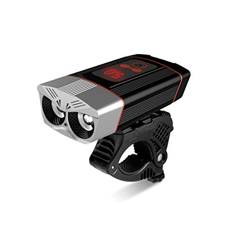 Ryaco Luci per Bicicletta 2400 lumens con Funzione Power Bank 5200mAh, Luci Bicicletta LED Ricaricabili USB 4 modalità, Luce Bici Anteriore Super Luminoso Luce Bici LED per Bici Strada