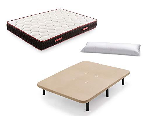 Cama Completa - Base Tapizada Color Beige con Patas de 32 cm + Colchón Memory Fresh 3D + Almohada de Fibra, 120x190 cm