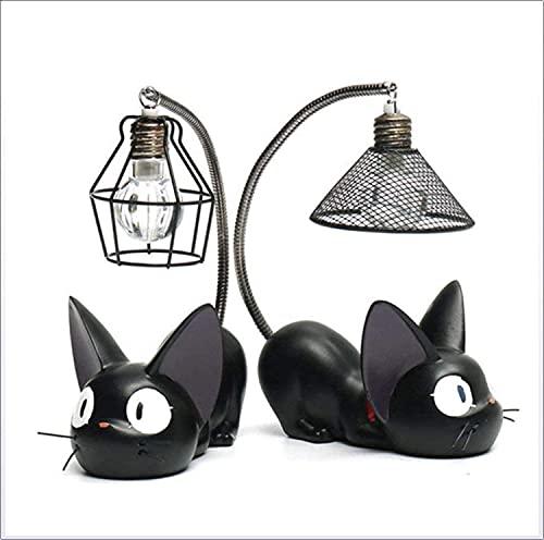 HS1 Kiki's Consegna Cats Figures Luce Notturna, 2 Pezzi Studio Ghibli Miyazaki's Black Cats con Lampada Notturna Action Figure Giocattoli per Bambini Decorazione,A+b