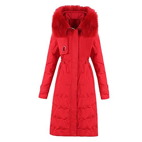 Slanke lange dames winterjas capuchon casual jas vrouwen plus size effen met bont kraag katoen gewatteerde dikke vrouwelijke parkas warm - rood - 5XL