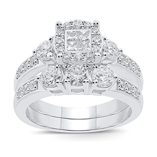 10K White Gold 1.50 Carat Real Diamond Engagement Ring Wedding Band Bridal Set Fine Diamond Jewelry (1.50 Carat, H-I Color, I1-SI2 Clarity), Size 7
