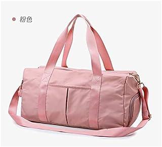 Fitness Bag Tide Men and Women Sports Training Yoga Bag Wet and Dry Separation Shoes Shoulder Bag Large Capacity Travel Bag (Pink)