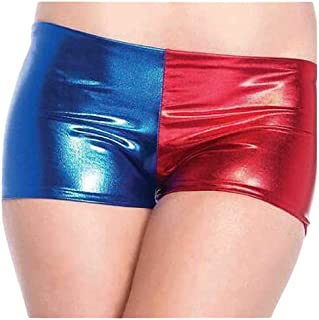 Women's Ladies Harley Quinn Suicide Squad Harlequin Metallic Hot Shiny Shorts