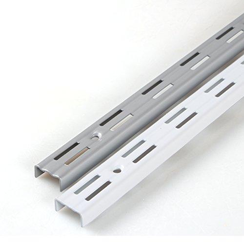 PRIOstahl® WANDSCHIENEN für REGALTRÄGER | 2 x SCHIENEN | 2-reihig | 500 mm | Weiß | Regalhalter Wandregal Regalbodenträger Regal Regalwinkel