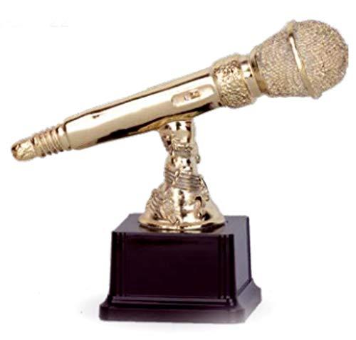 Figura trofeo micrófono dorado GRABADA personalizada