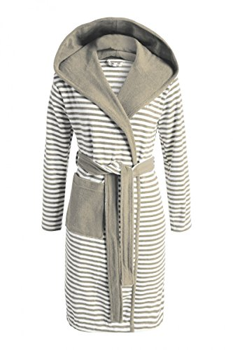 ESPRIT Bademantel Damen Kurzmantel mit Kapuze Striped Hoodie Mocca XL
