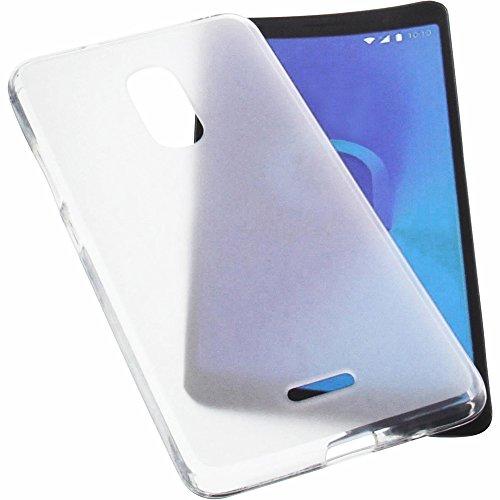 foto-kontor Tasche für Alcatel 3C Hülle Gummi TPU Schutz Handytasche transparent weiß