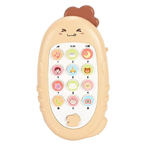 N\C Teléfono Móvil de Dibujos Animados Juguete electrónico Infantil niños Juguetes educativos de Aprendizaje con Sonido de música - Yellow