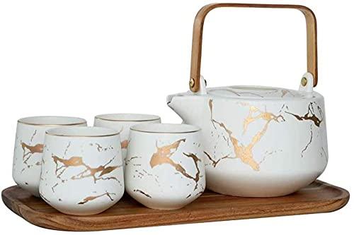 Juego de tetera de cerámica hecha a mano, 6 piezas, taza de sake japonesa, juego de té de mármol, con bandejas de madera, color blanco