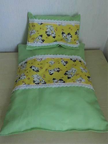 Puppenbettwäsche Traum in gelb und grün - Hunde und Katzen - allerliebstes Motiv