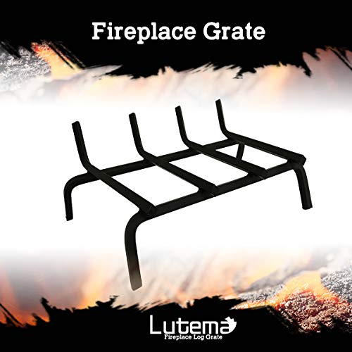 Best Review Of Lutema Chimney Fire Pit Grate Steel Bars for Fireplace Hearth Wood Stove | Smoke-Free | Wood Rack Holder Black for Indoors and Outdoors 19 inches