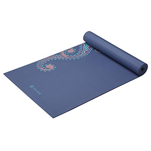 Gaiam Yoga Mat Premium Print Extra Thick Non Slip Exercise amp Fitness Mat for All Types of Yoga Pilates amp Floor Workouts Soft Paisley 6mm