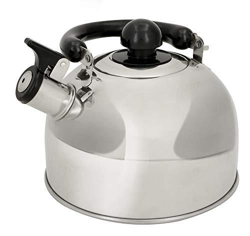 alpina Wasserkocher - Pfeifkessel aus Edelstahl - Teekessel für Herd - Teekanne geeignet für Induktion und Gas - Silber