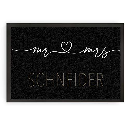 Fußmatte, Schmutzfangmatte, Fußabstreicher, Anti-rutsch Indoor/Outdoor, Mr & Mrs 60cmx40cm (Mr Mrs Gold)
