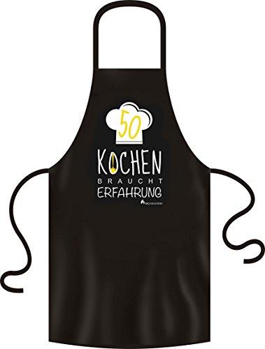 BBQ Solutions 50 Jahre, Kochen braucht Erfahrung Grillschürze | Kochschürze mit lustigem Spruch, 28 x 22 x 2 cm