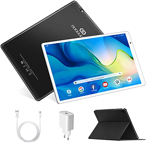 Tablet 10.1 Pollici, DUODUOGO Android 10 4G LTE Tablet con WiFi 4 GB RAM e 64 GB   128GB Tablet PC in Offerta, tablet 10.1 full hd,Bluetooth, GPS, Type-C, Quad-Core, 8000mAh,Doppia Fotocamera