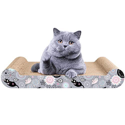 LIKEA Rascador para Gatos de Cartón Cama Rascador con Catnip Orgánico Diseño de Doble Cara con Materiales Ecológicos con Estampados Divertidos 45 x 25 x 7 cm