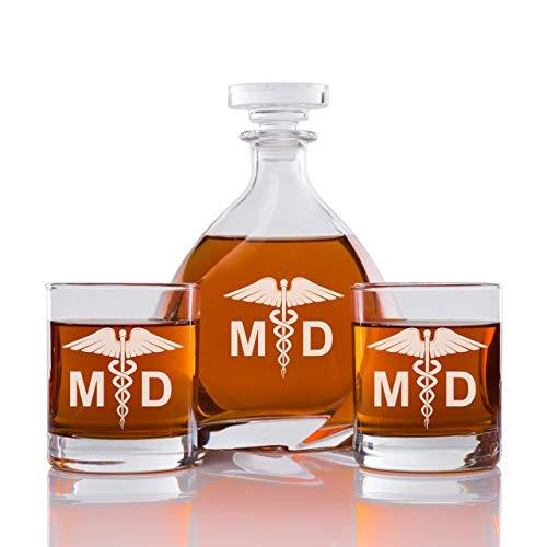 Abby Smith - Madison Whiskey Decanter Medical Doctor - Set 3PCS