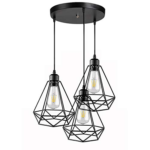 3 Lampes suspension industrielle vintage  Métal Lustre Suspension Style Cage Géométrique E27 Lampe Suspension Vintage - Noir