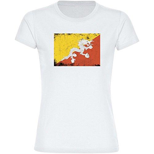 Multifanshop T-Shirt Fahne Retro Bhutan weiß Damen Gr. S bis 2XL - Fanartikel Fanshop Fußball Fanshirt Trikot, Größe:XXL