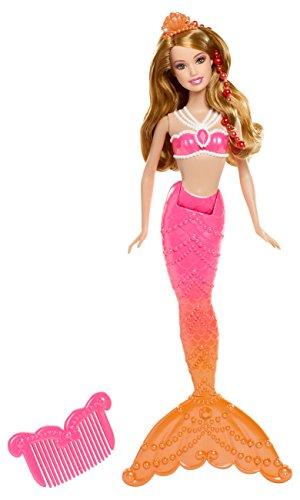 Mattel Barbie BDB49 - Die magischen Perlen Meerjungfrau, Puppe zum Film mit Farbwechsel, rot