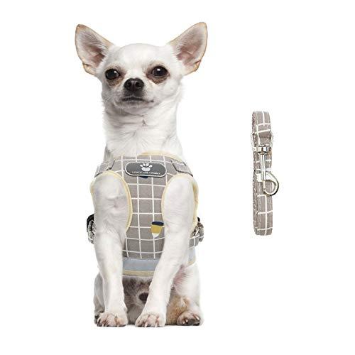 FEimaX Arnes Perro Pequeño Mediano Gato Arnés Antitirones Chaleco Pecho de Malla Suave Reflectante Ajsutable Arneses y Correa de Nylon para Cachorros Perros Gatos (XS, Caqui)