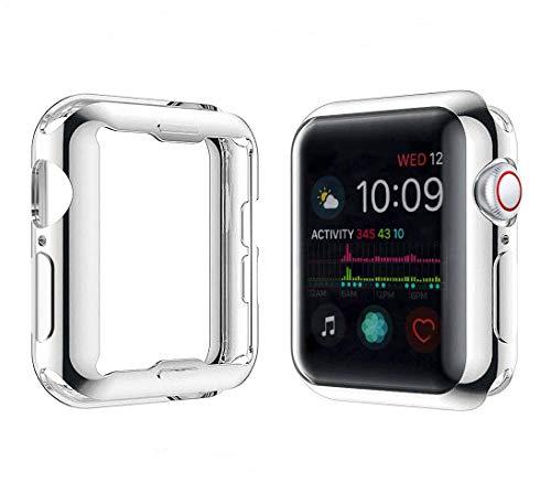 Misxi 【2枚セット】 Apple Watch Series 5 / Series 4 44mm ケース, 全面保護 耐衝撃 メッキ 柔らかい TPU ウオッチ保護ケース超薄型カバー 2019 新しい アップルウォッチシリーズ 5/4 44mm ケース (1 シルバー + 1 クリア)
