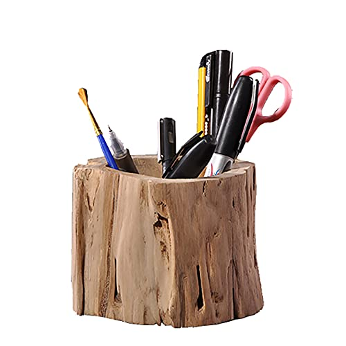 Soporte de madera maciza para bolígrafos de escritorio multiusos para lápices,artículos de aprendizaje de artículos de papelería de madera para escritorio de almacenamiento de escritorio - 10×10cm