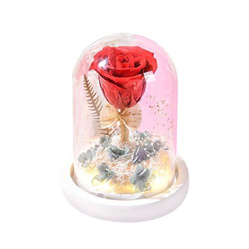 Forever - Lámpara de noche con luz LED, diseño de flor rosa MOSINITTY en una cúpula de cristal sobre base de madera, luz decorativa para lanniversario de boda de San Valentín