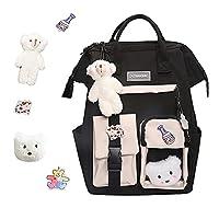 MMM Kawaii Backpack with Kawaii Pin and Accessories, Cute Backpacks for Teen Girls, Cute Aesthetic Backpacks for Girls School (black)