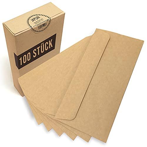 Japun - sobres (100 piezas) de papel Kraft antiguo/sin ventana - DIN largo - 222 x 110 mm, envolventes, la cierro